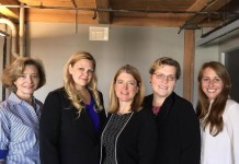 "Nannette Musgrave, (CEO, EDIS Solutions LLC), Amy Holcomb (SkyMedicus), Suzanne Magee (Bandura), Alexandra ""Sasha"" Goodwin (Janus Choice) and Mary Wolff (Taptl)."