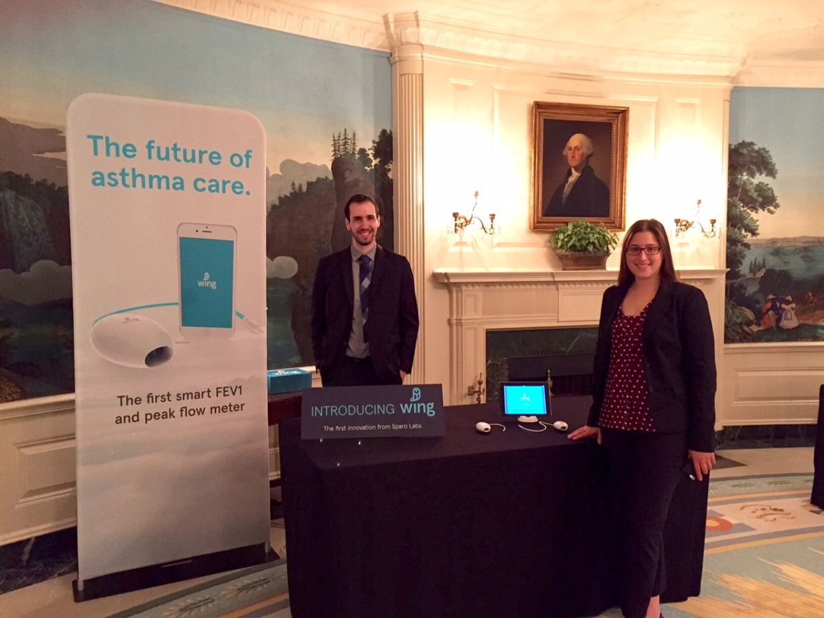 Co-Founders of Sparo Labs Abby Cohen and Andrew Brimer present at the first White House Demo Day this summer.