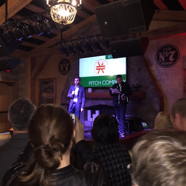 Brian Nichols presenting at Tuesday night's TechCrunch Pitch-Off.
