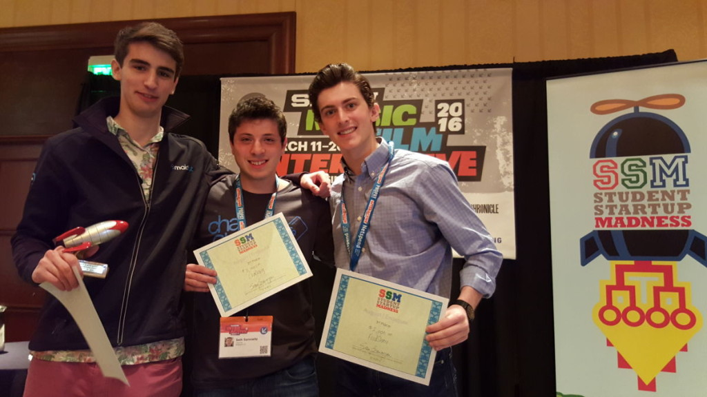 Glantz (right), with overall winner Maidbot and 2nd place winner ChaChing