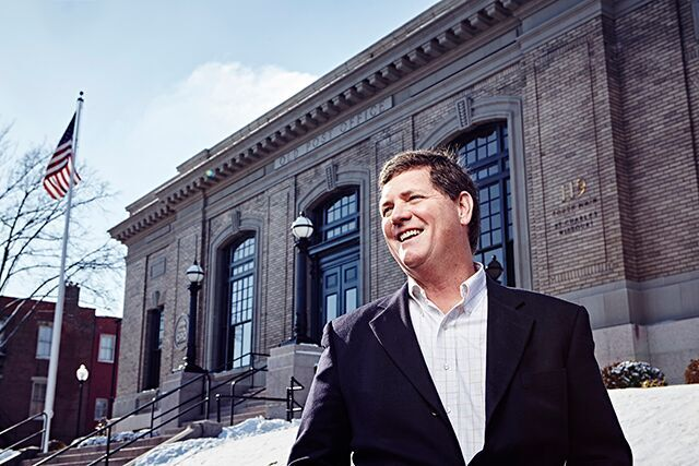 Randy Schilling on the steps of OPO Startups. Photo courtesy of Wesley Law