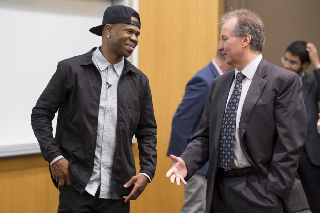 Chamillionaire, a Grammy award-winning rapper, and Mark Suster, a partner at Upfront Ventures, the largest venture capital firm in Southern California, discuss entrepreneurship on Thursday, April 14, 2016 in Brauer Hall at Washington University in St. Louis School of Engineering and Applied Sciences. (Photo © Whitney Curtis)