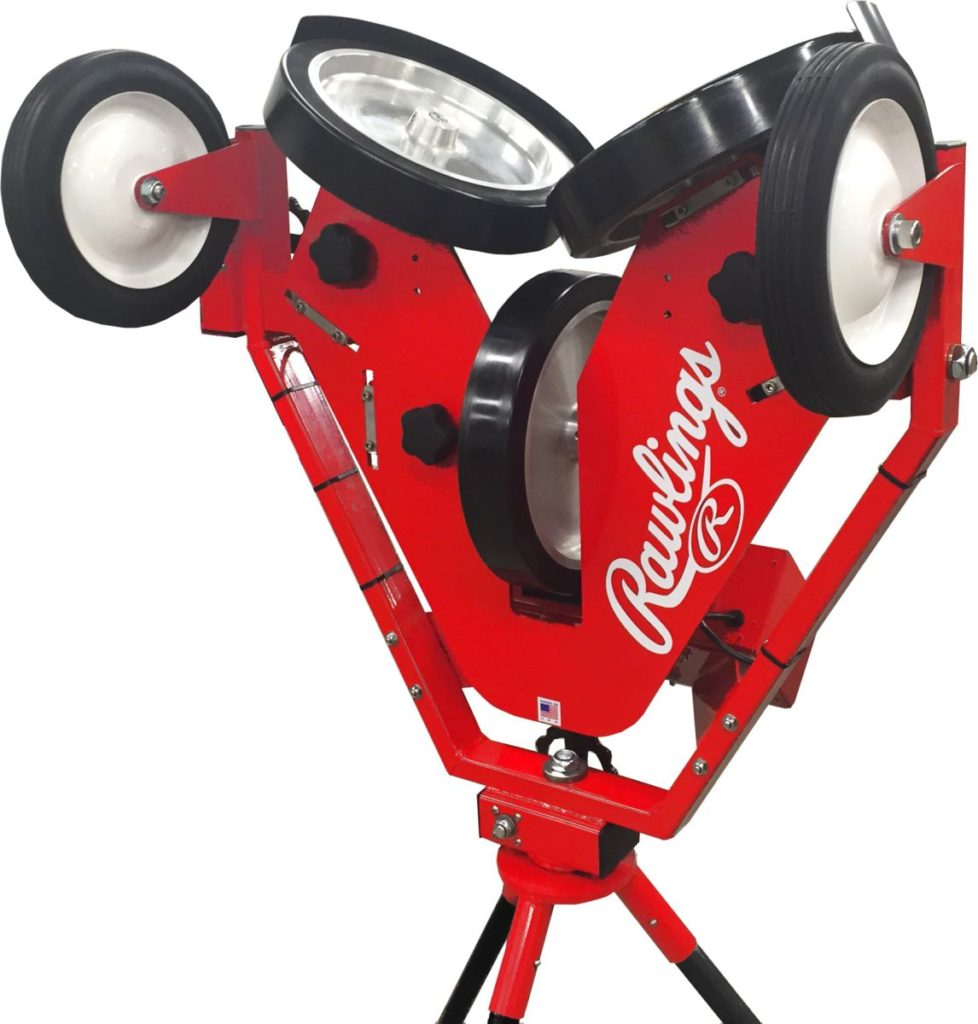 The 3-wheel pitching machine. Spinball has a licensing a agreement with Rawlings Sporting Goods Company.