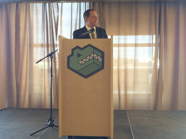 Mayor Francis Slay speaks at the T-REX 2-year anniversary. Photo by Daniel Shular via Twitter.