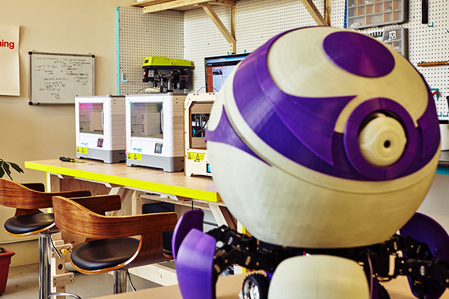 Weber and Bolisetty plan to take their robot, Persona, on a North America tour once it is completed. Photo by Wesley Law
