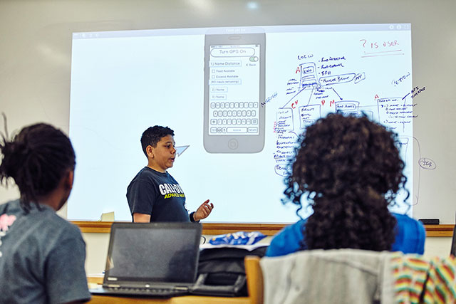 """GlobalHack """"Design-A-Thon"""" youth programming at MICDS. Photo by Wesley Law"""