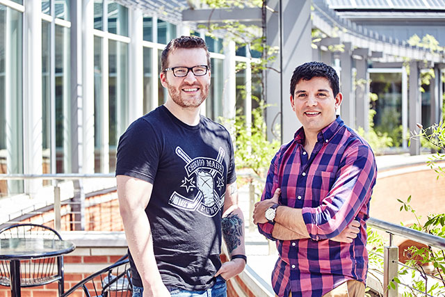 Matt Menietti (right) has served as executive director of GlobalHack since 2015. Michael Palmer (left) joined the team in 2016 as director of youth programs. Photo by Wesley Law