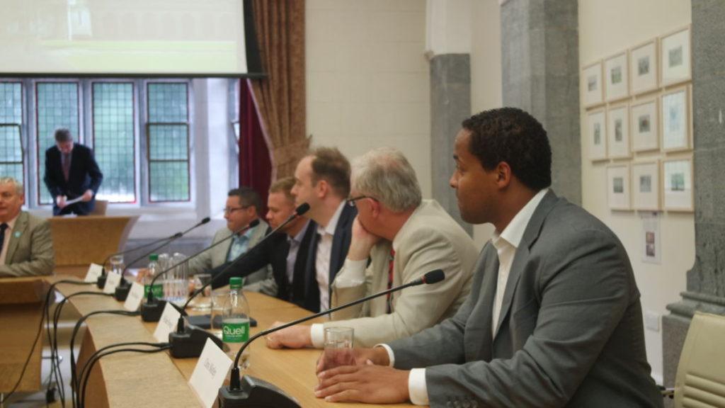 Panelists right to left: Chris Motley of Better Weekdays, William Powderly of Washington University, David Hankanson of SLU, Daniel Bentle of Washington University and Tim Hayden of Stadia Ventures and SLU