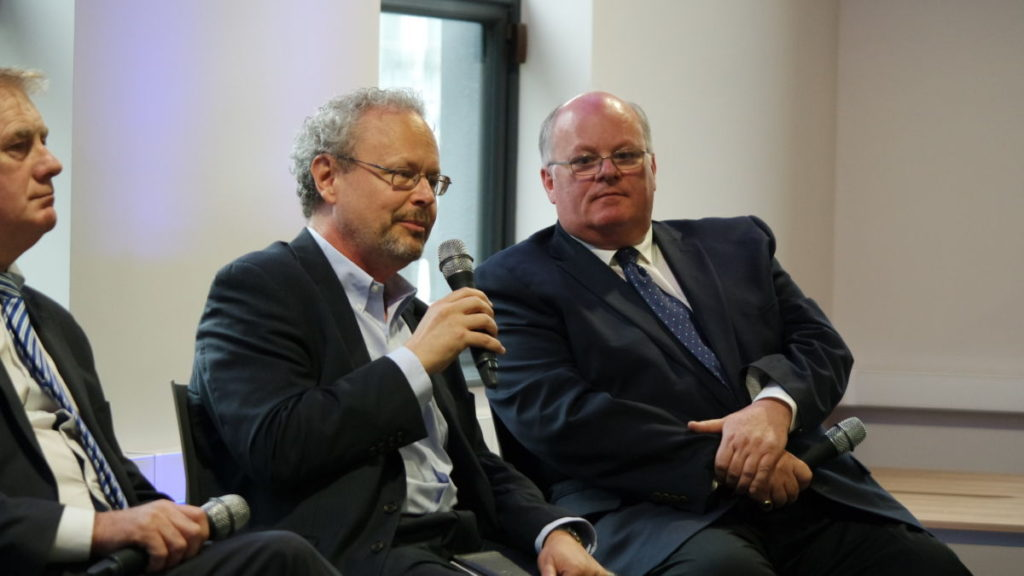 Thad Simons, Managing Director of the Yield Lab speaks on a panel discussion on AgTech at the PorterShed, alongside Peter Wyse Jackson, President of the Missouri Botanical Garden