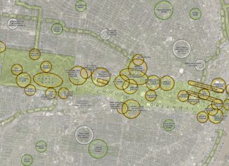 A map of the winning proposal for the Chouteau Greenway