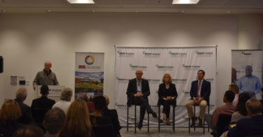 Dan Lauer moderates a panel with Mayor Krewson, UM system present Choi and Warner Baxter on connected community.