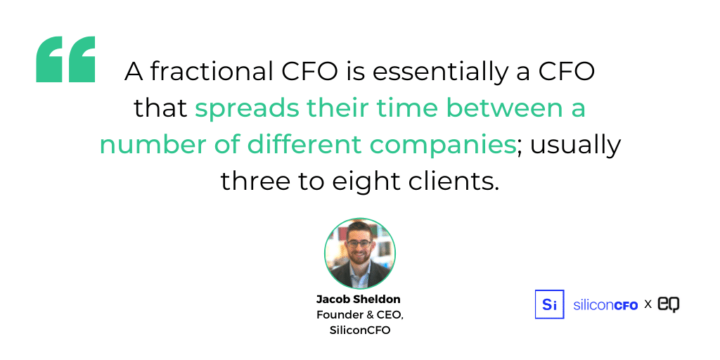 """""""A fractional CFO is essentially a CFO that spreads their time between a number of different clients, usually three to eight clients,"""" says Jacob Sheldon, founder of Silicon CFO, a startup that offers fractional recruitment services for startups looking to hire a CFO."""